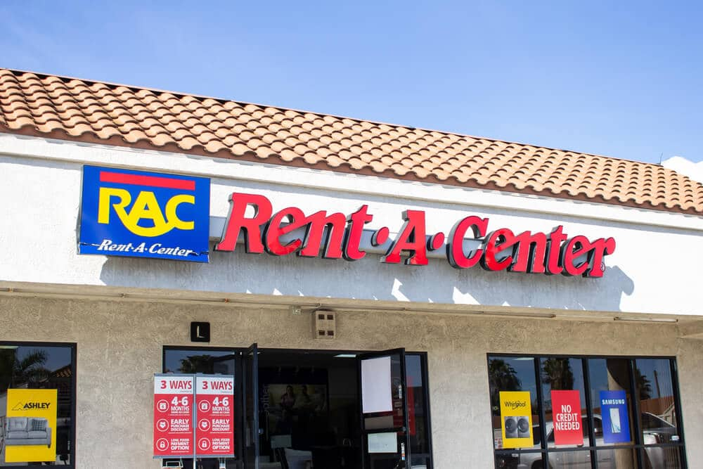 Sign on the front of a Rent-A-Center store
