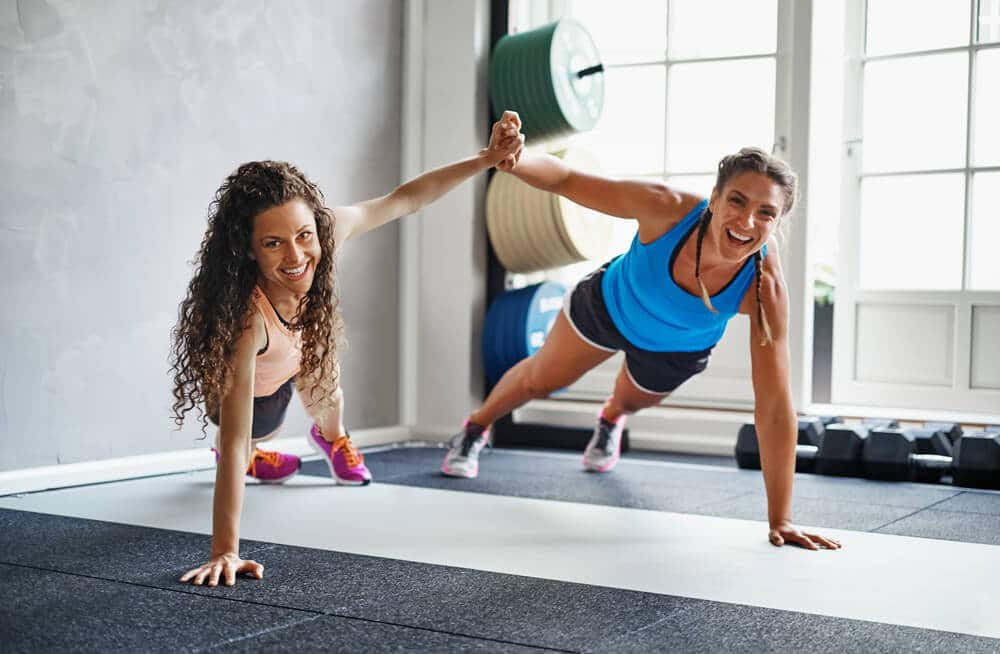 Two women working out together
