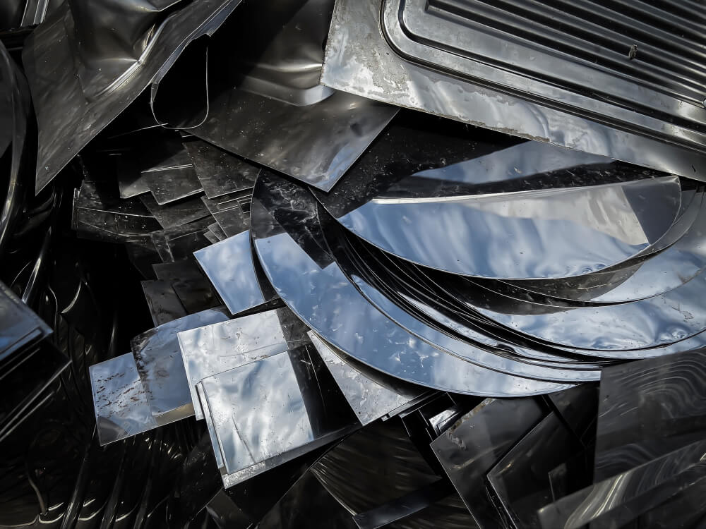 Pile of stainless steel scraps at a scrap yard