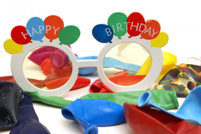 Happy Birthday wearables and balloons