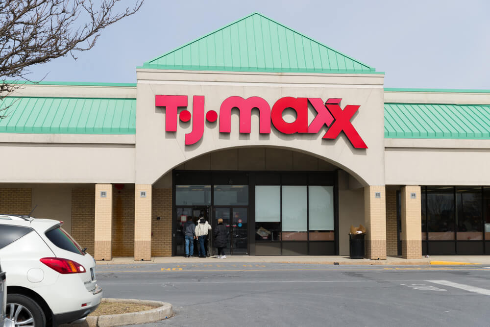 Front of a T.J. Maxx store location in a shopping center