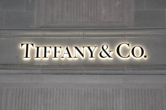 Tiffany & Co. sign on the exterior of a store.