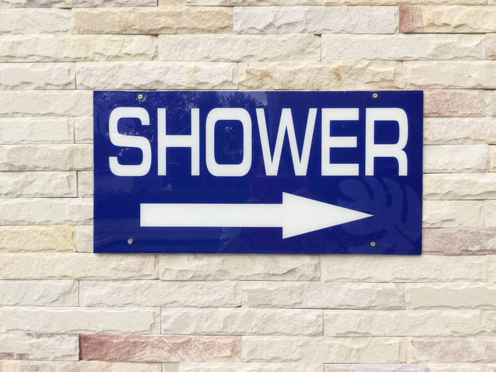 Public shower sign