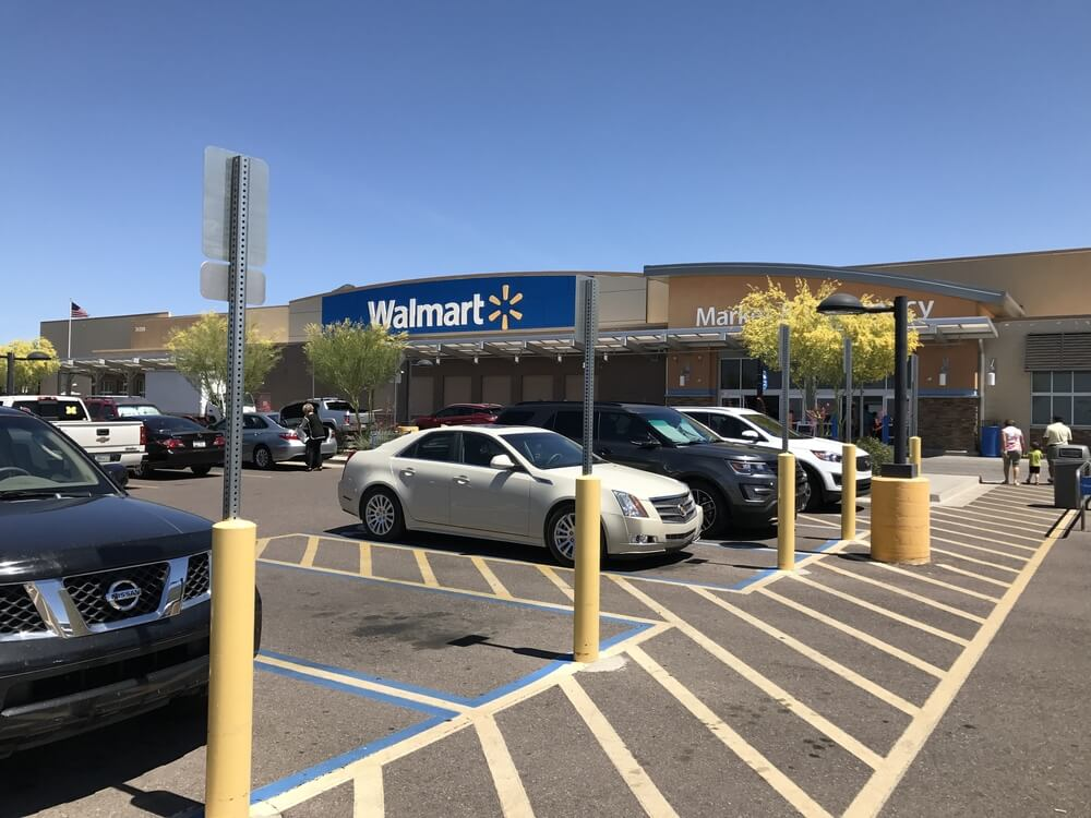 Walmart storefront and parking lot