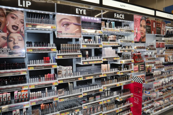 Makeup aisle at a Walmart store