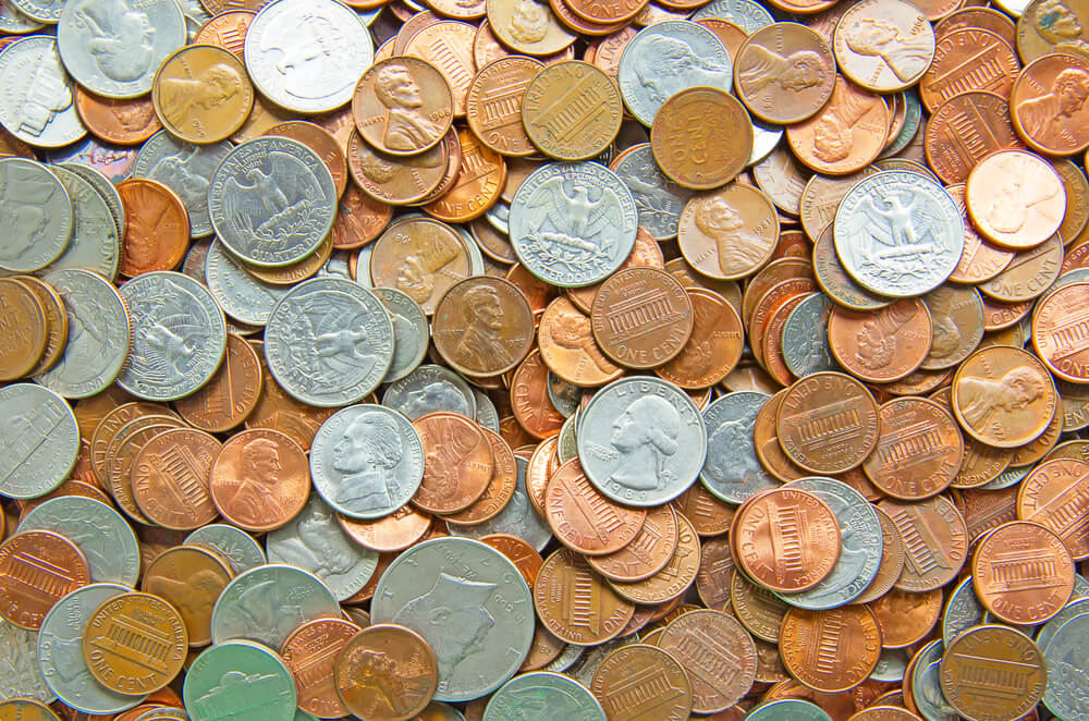 Large pile of mixed U.S. coins