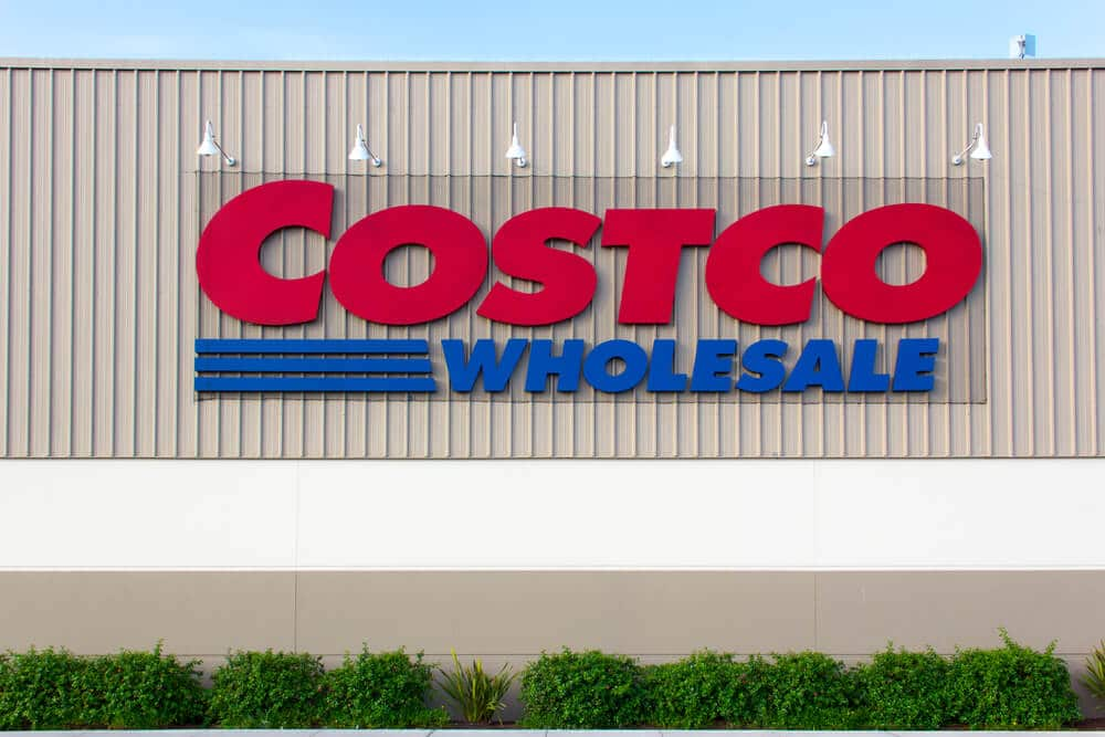 Sign on the exterior of a Costco warehouse store