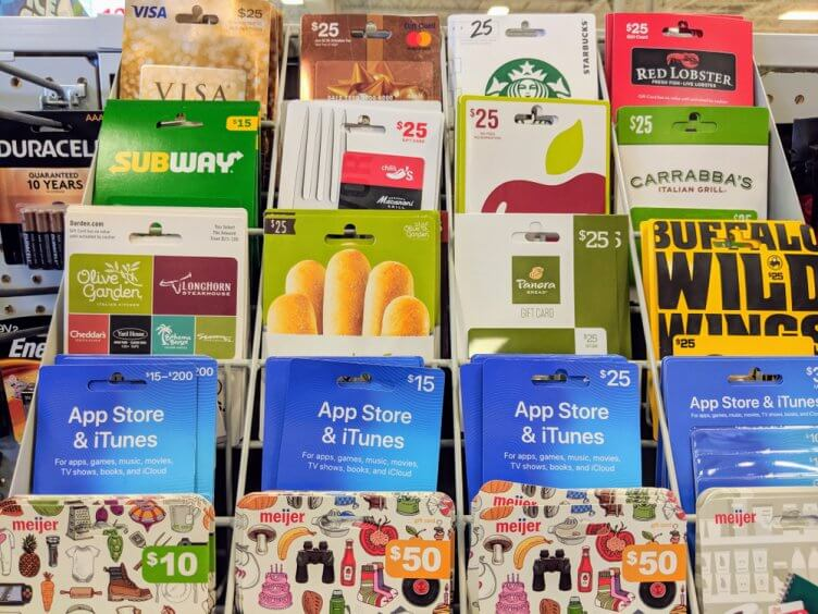 Gift cards on display at Meijer