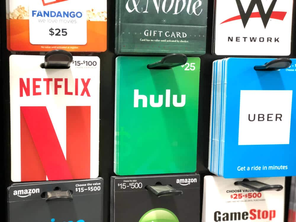 Gift cards on display for sale at a store