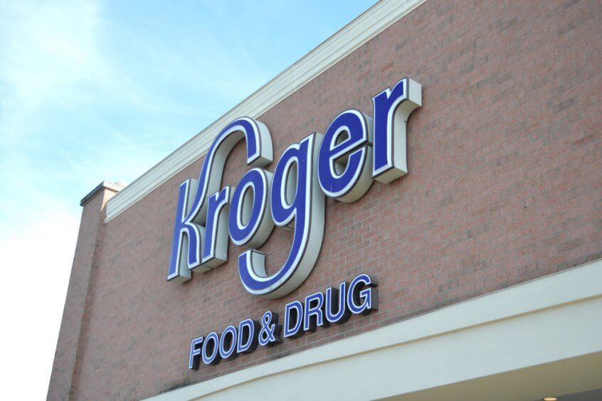 Kroger sign on the exterior of a Kroger store.