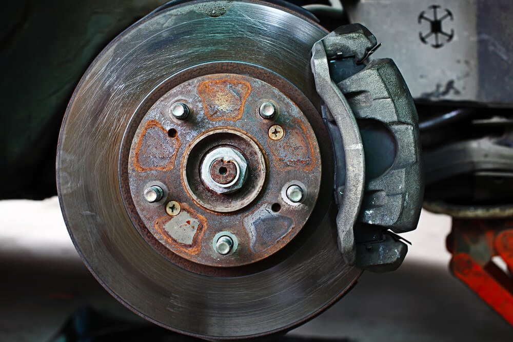 An assembled disc brake on a car