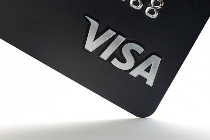 Visa logo on a card