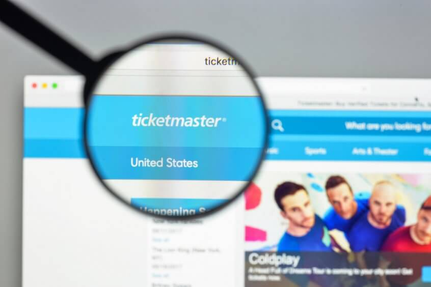 Computer screen showing Ticketmaster website
