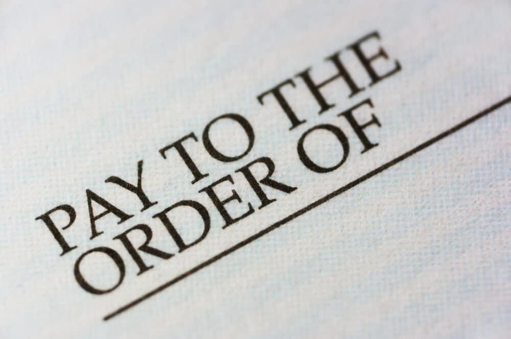 Pay to the Order of line
