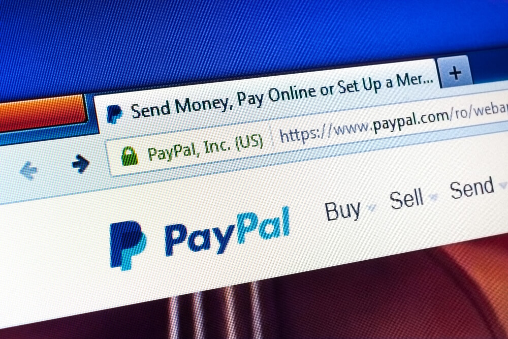 Close-up of the PayPal logo on PayPal's website