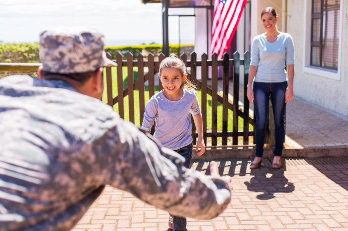 military service member returning home to greet wife and daughter