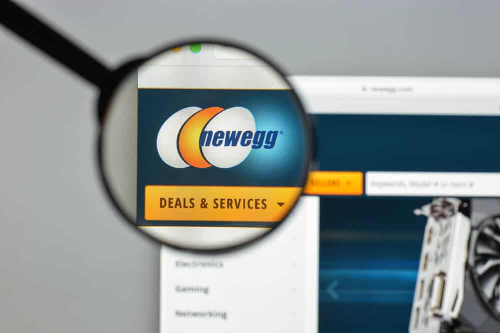 a magnifying glass shows the Newegg logo on a computer screen