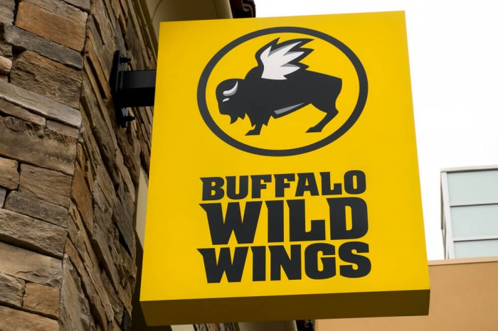 Buffalo Wild Wings sign on the side of a building