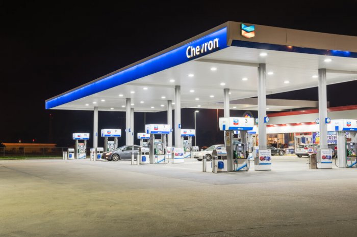 A Chevron gas station at night