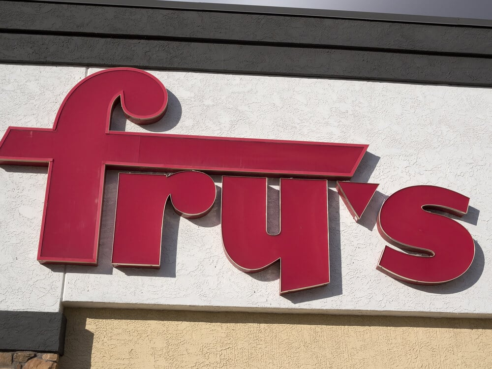 Fry's sign on the side of a building