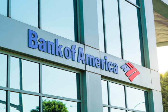 Bank of America logo on the side of a building