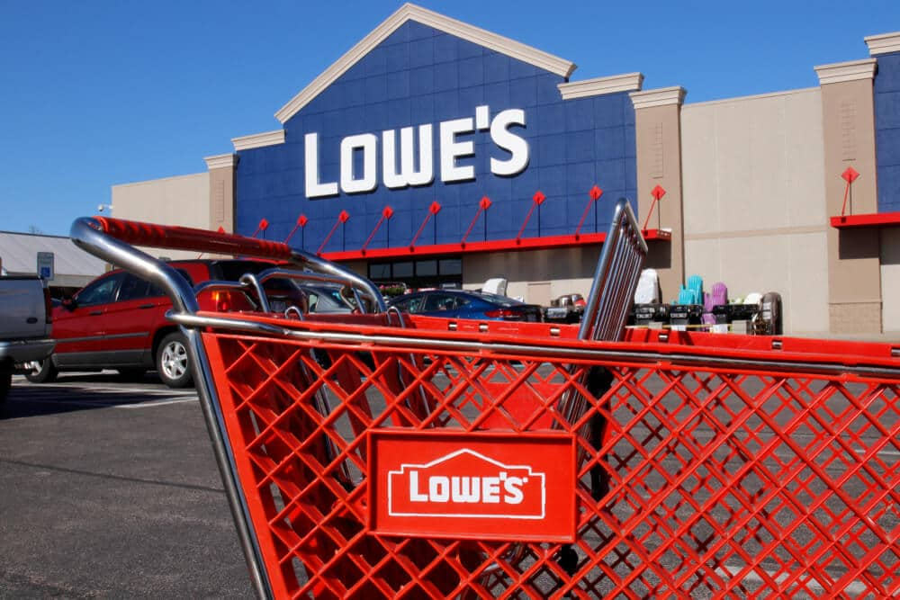 Lowe's shopping card outside of a Lowe's store
