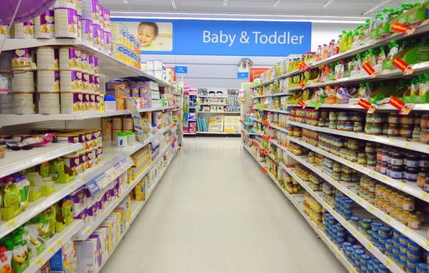 A Walmart grocery isle in the baby and toddlers section.