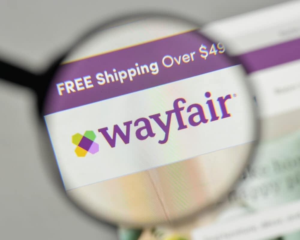 Wayfair logo under magnifying glass